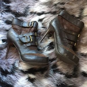 "Dollhouse Brown Booties 4.5"" Stilettos Fur Lined"